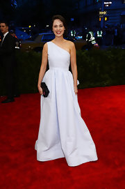Zooey Deschanel chose a light blue seersucker dress for her look at the 2013 Met Gala.