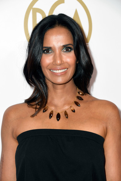 Padma Lakshmi Long Wavy Cut [hair,shoulder,hairstyle,black hair,beauty,long hair,joint,forehead,little black dress,dress,arrivals,padma lakshmi,the beverly hilton hotel,beverly hills,california,annual producers guild awards]