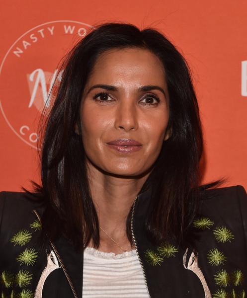 Padma Lakshmi Medium Straight Cut [emilys list pre-oscars brunch and panel,hair,hairstyle,eyebrow,black hair,long hair,layered hair,brown hair,smile,padma lakshmi,los angeles,california,emilys list pre-oscars brunch and panel]