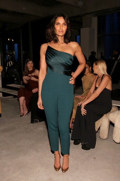 Padma Lakshmi Jumpsuit [shows,the shows,fashion model,beauty,flooring,shoulder,fashion,formal wear,fashion show,leg,joint,little black dress,padma lakshmi,cushnie et ochs,cushnie et ochs - front row,front row,pier 17,new york city,new york fashion week]
