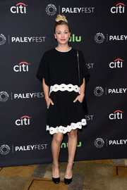 Kaley Cuoco was breezy and chic in a black-and-white scallop-trim top by Jonathan Simkhai during PaleyFest Los Angeles.