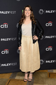 Mayim Bialik was biker-chic in a black leather jacket while attending PaleyFest Los Angeles.
