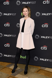 Calista Flockhart bundled up in a cute pale-pink swing jacket for PaleyFest Los Angeles.