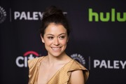 Tatiana Maslany styled her hair into a loose, high bun for PaleyFest Los Angeles.