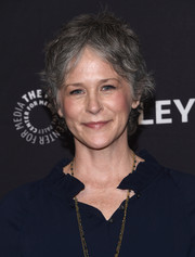 Melissa McBride wore her hair in a short messy style at the PaleyFest Los Angeles opening night presentation of 'The Walking Dead.'