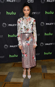 Thandie Newton chose a long-sleeve print blouse by Erdem for the 'Westworld' panel during PaleyFest Los Angeles.