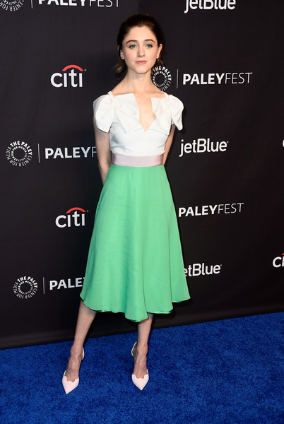 More Pics of Natalia Dyer Ponytail (1 of 4) - Natalia Dyer Lookbook - StyleBistro [stranger things,clothing,dress,shoulder,carpet,red carpet,a-line,premiere,hairstyle,cocktail dress,fashion,natalia dyer,los angeles,dolby theatre,california,hollywood,paley center for media,paleyfest]
