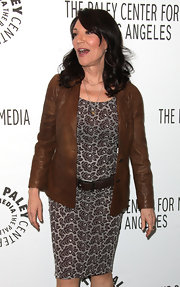 Katey Sagal donned a floral sheath under a brown leather jacket for PaleyFest 2012.