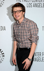 Angus T. Jones rocked a messy look with this plaid button-down with scrunched-up sleeves during PaleyFest.