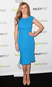 Connie Britton opted for a solid blue sheath dress with flared skirt for her look at PaleyFest 2013.
