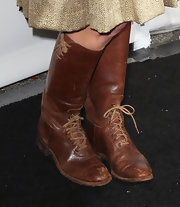 Clare Bowen's distressed brown lace-ups were a modern take on cowboy boots.