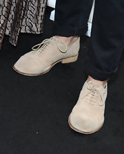 Jayson Blair rocked nude suede loafers while attending PaleyFest 2013 in California.