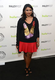 Mindy Kaling had some fun with her quirky red carpet look at PaleyFest, where she wore this sequined lipstick sweater.