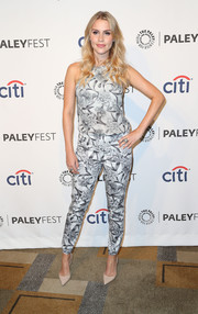 Claire Holt looked sassy in a black-and-white printed jumpsuit by Zimmermann during PaleyFest.
