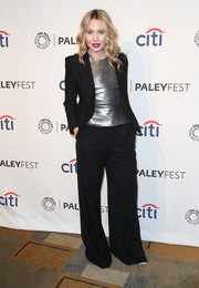 Leah Pipes layered a black Helmut Lang blazer over a silver top for a chic menswear-inspired look during PaleyFest.