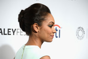 Lyndie Greenwood looked ultra elegant wearing this classic French twist during PaleyFest.