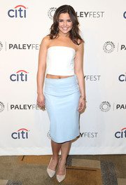 Danielle Campbell's pastel-blue Zara pencil skirt and white tube top were an effortlessly stylish pairing.