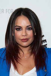 Janel Parrish rocked ombre red and black layers at the 'Pretty Little Liars' event.