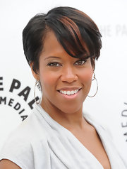 Regina King looked funky at the Evening with Southland event wearing her hair in a streaked short cut with side-swept bangs.