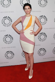 Jessica Pare chose this geometric-print sleeveless frock for her red carpet look at the 'Mad Men' screening at the Paley Center.