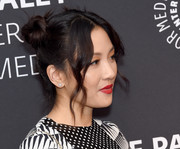 Constance Wu showed off a cute pair of starburst diamond studs at the Evening with 'Fresh Off the Boat' event.