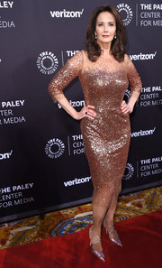 Lynda Carter radiated in a rose-gold sequin dress at the Paley Honors: Celebrating Women in Television event.