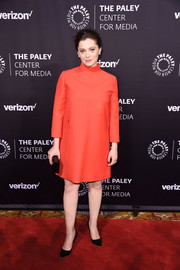 Rachel Bloom chose a high-neck red-orange shift dress for the Paley Honors: Celebrating Women in Television event.