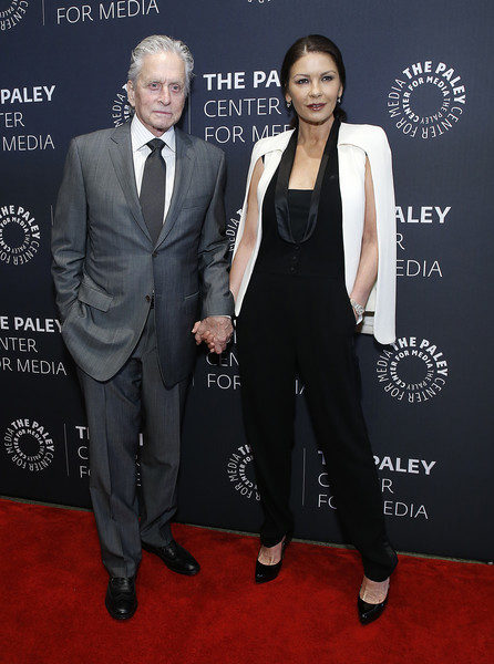 Catherine Zeta-Jones went modern in a caped black-and-white jumpsuit at the Paley Honors luncheon celebrating Michael Douglas.