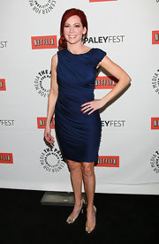 Carrie is radiant in a ruched cobalt jersey dress with an asymmetrical design at PaleyFest 2011.