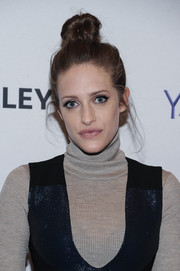 Carly Chaikin pulled her hair up into a towering top knot for PaleyFest New York 2015.