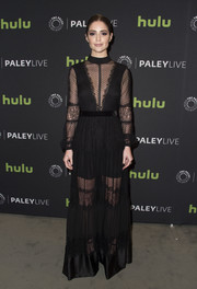 Janet Montgomery was goth-glam in a black lace-panel gown by Perseverance London at the 'Salem' season 3 premiere.