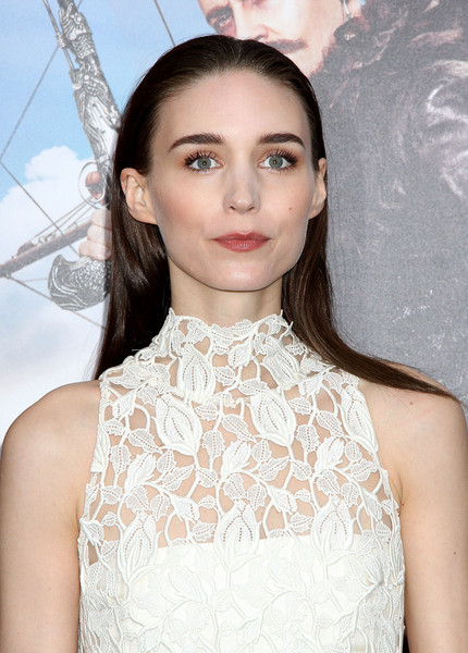 Rooney Mara wore her long hair straight and slicked down at the top during the New York premiere of 'Pan.'