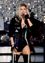 Fergie performed at the Pandora Summer Crush wearing an embellished jacket over a sexy bodysuit.