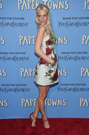 Poppy Delevingne charmed in a floral-print mini dress by Dolce & Gabbana during the New York premiere of 'Paper Towns.'