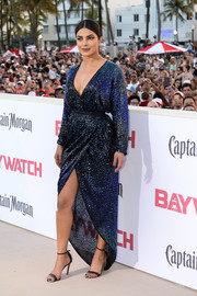 Priyanka Chopra looked quite the diva in a sequined blue wrap dress by Halston at the world premiere of 'Baywatch.'