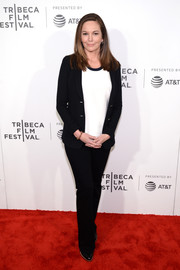 Diane Lane kept it low-key in a black pantsuit and a white blouse at the Tribeca Film Fest premiere of 'Paris Can Wait.'