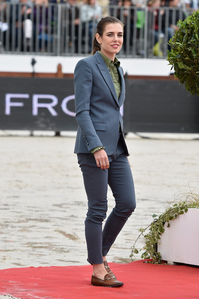 Charlotte Casiraghi rounded out her look with a pair of tan loafers.