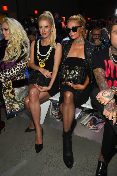Paris Hilton Studded Shoulder Bag [shows,fashion,event,thigh,leg,fashion model,fashion design,dress,fashion accessory,jeremy scott,paris hilton,nicky hilton,front row,new york city,l,spring studios,new york fashion week,jeremy scott fashion show]