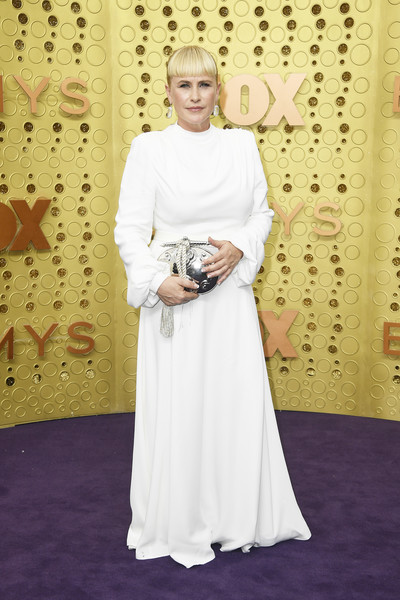 Patricia Arquette Metallic Clutch [carpet,clothing,red carpet,dress,flooring,fashion,gown,formal wear,smile,a-line,arrivals,patricia arquette,emmy awards,microsoft theater,los angeles,california]