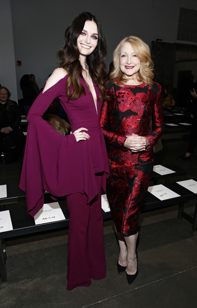 Patricia Clarkson Cocktail Dress [clothing,fashion,pink,haute couture,fashion design,fashion model,magenta,event,costume,dress,pamella roland,lydia hearst,patricia clarkson,front row,new york city,pier 59,new york fashion week,fashion show]