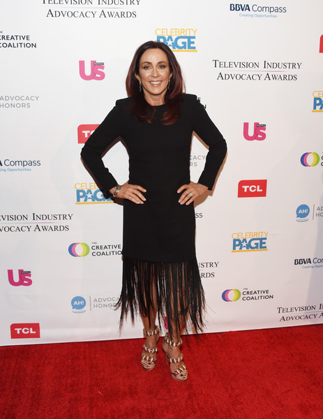 Patricia Heaton Fringed Dress [clothing,red carpet,dress,carpet,fashion,cocktail dress,little black dress,award,premiere,shoulder,arrivals,patricia heaton,sofitel los angeles,california,beverly hills,creative coalition,television industry advocacy awards]