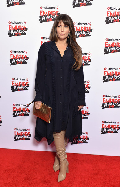 Patty Jenkins Over the Knee Boots [clothing,red carpet,carpet,premiere,flooring,footwear,shoulder,joint,dress,outerwear,patty jenkins,tv empire awards,london,england,the roundhouse,rakuten,red carpet arrivals]