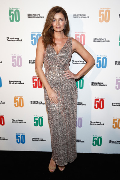 Paulina Porizkova Sequin Dress [the bloomberg 50,clothing,dress,carpet,red carpet,cocktail dress,fashion,shoulder,premiere,flooring,long hair,paulina porizkova,arrivals,new york city,gotham hall,celebration]