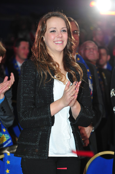 Pauline Ducruet Tweed Jacket [event,yellow,long hair,premiere,brown hair,outerwear,textile,jacket,fur,performance,pauline ducruet,stage,monte-carlo,monaco,monte-carlo 35th international circus festival 2011,awards ceremony,monte-carlo international circus festival]
