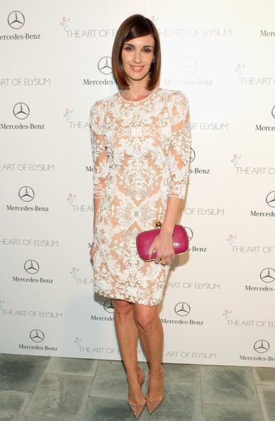 Paz Vega Hard Case Clutch [clothing,dress,fashion model,cocktail dress,shoulder,hairstyle,fashion,footwear,pink,joint,paz vega,los angeles,california,art of elysium,mercedes-benz,red carpet,the art of elysium,skirball cultural center,7th annual heaven gala]