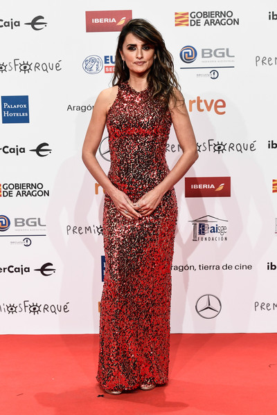 Penelope Cruz Sequin Dress [clothing,dress,red carpet,fashion model,carpet,shoulder,hairstyle,fashion,premiere,flooring,penelope cruz,forque awards,red carpet,zaragoza,spain,palacio de congresos,red carpet,jose maria forque awards]