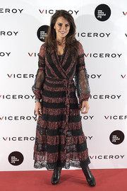 Penelope Cruz presented the 'Soy Uno Entre Cien Mil' documentary wearing an Etro boho wrap dress in purple and black lace stripes.