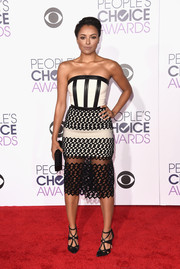 Kat Graham looked foxy in a figure-hugging black-and-white strapless dress by David Koma at the People's Choice Awards.