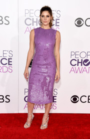 Ashley Greene was cool and glam in a distressed lavender sequin dress by Jeffrey Dodd at the 2017 People's Choice Awards.