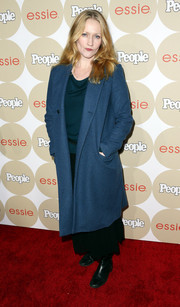 Paula Malcomson looked ready for fall in a blue wool coat and a pair of boots during the Ones to Watch party.